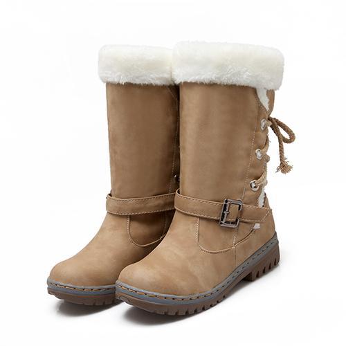 Fashion Cotton Boots Winter Women Mid-calf Boots with Fur Leather Lace Up Ladies Shoes Plus Size 35-43 Snow Boots QBT1077