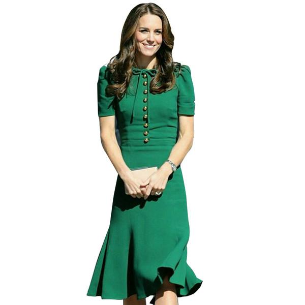 Princess Kate Middleton Dress 2019 Woman Dress Spring Short Sleeve O-neck Mermaid Elegant Dresses Work Wear Clothes Sad185as J190511