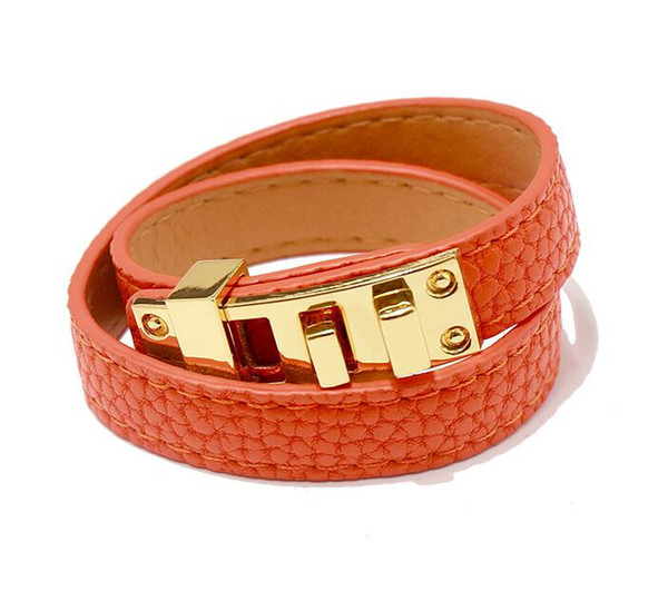 2019 New intage Multilayer Pu Leather Bracelets for women Cuff bangles Men gold buckle Wristband Pulseras Hombre Male Accessories Jewelry