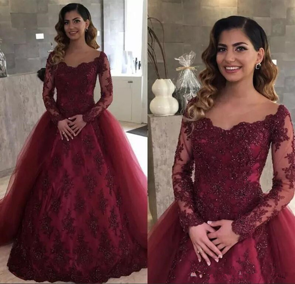 2019 Elegant Burgundy Lace Sheer Long Sleeves Prom Dresses 2018 Arabic Ball Gown Tulle Lace Beads Formal Evening Gowns Vestidos De Fiesta