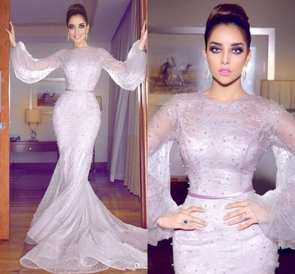 Elegant Pearls Full Lace Mermaid Prom Dresses New 2019 Arabic Dubai Style Sexy Sheer Neck Long Puff Sleeve Piping Train Formal Evening Gowns