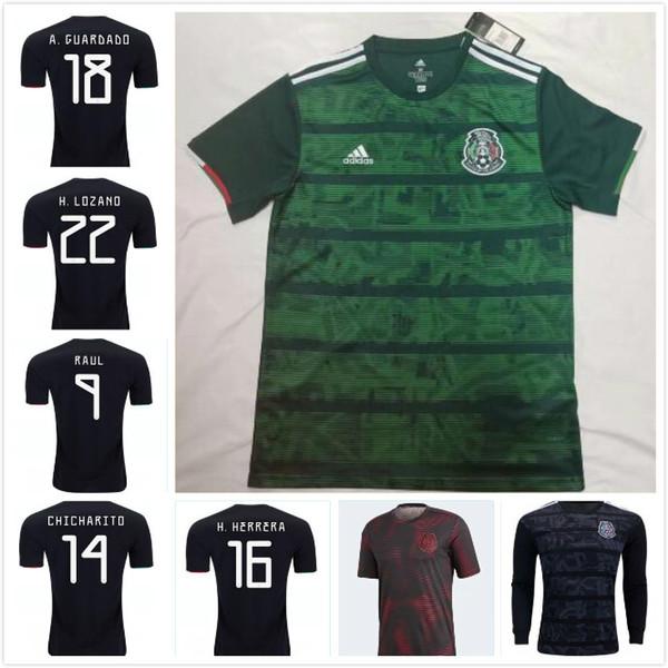 10 pièces gratuites DHL Mexique 2019 2020 H.LOZANO H.HERRERA R.MARQUEZ CHICHARITO A.GUARDADO Maillot de foot 19 20 maillot de foot de l'équipe nationale S-2XL