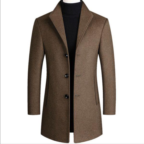 Inverno Windbreaker di lana del cappotto lungo degli uomini Business Casual spessi Cappotti Nero Blu Grigio Rosso Marrone Mens cotone imbottito Trench Coat