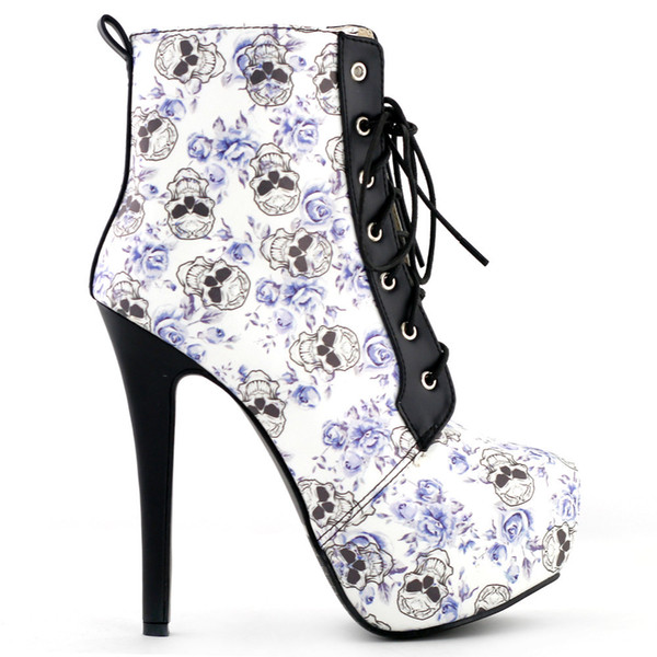 Lf80837 Sexy Skull Blue Floral Black Lace Up Bottines Gothiques Club Taille 4/5/6/7/8/9/10