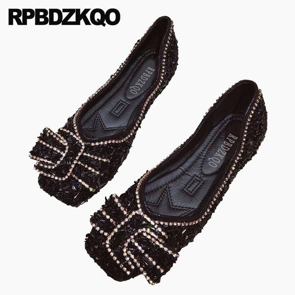 cute women dress shoes bow rhinestone big black crystal chinese kawaii diamond pink ladies square toe slip on china flats summer
