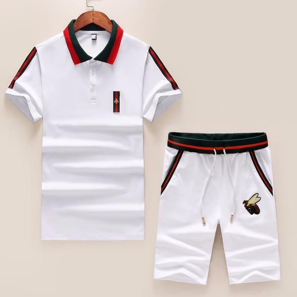 Sommer 2019 High-End-neue Baumwolle Kurzarm zweiteilige Sportbekleidung lässig gut aussehend heißen Sportanzug Persönlichkeit Männer 3392