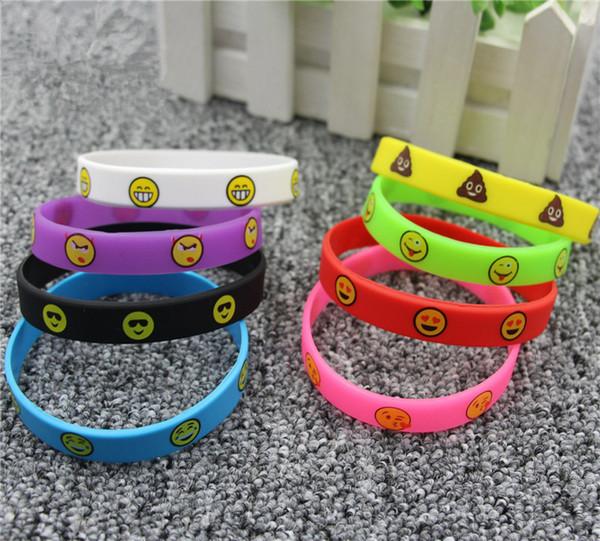 Emoji pulseras 8 colores Emoticon pulseras slicone impresión linda pulseras niños juguetes promoción regalos 20.2x1.2 cm B11