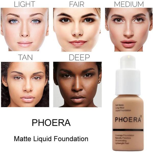 Marca de fábrica famosa Maquillaje facial Maquillaje PHOERA Mate Control líquido Base líquida 10 colores Corrector DHL Envío Gratis