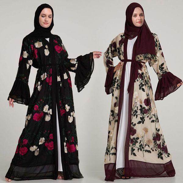 Luxus Muslimische Stickerei Floral Abaya Volle Kleider Aufflackern Ärmel Strickjacke Kimono Lange Robe Tunika Nahen Osten Ramadan Arabisch Islamisch