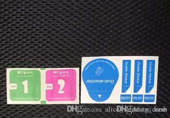 Assorbitore di polvere + salviettine umidificate a secco 2 in 1 Strumenti per panno di pulizia per protezione dello schermo in vetro temperato Alcohol Pad Phone iphone 7 8 X Samsung Ipad