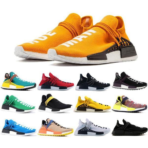 Hot Sale Human Race trail Running Shoes Nerd black cream Men Women Pharrell Williams HU Runner Yellow White Red sports runner sneaker