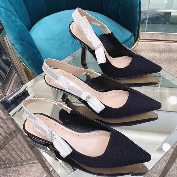 top popular {Original Logo}Fashion High heeled sandals Gladiator Leather Pointed shoes sexy Designer luxury heel High heeled shoes Letter woman shoes 42 2020