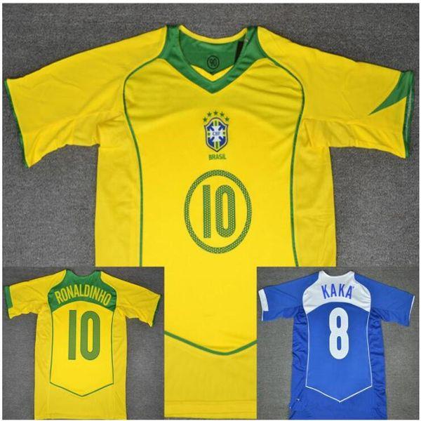 Acheter 2004 2005 Brésil Maillot Rétro Ronaldo Ronaldinho Vintage 04 05 KAKA Brésil Calcio MAGLIA Chemise Classique Camisa De Futebol Maillot De