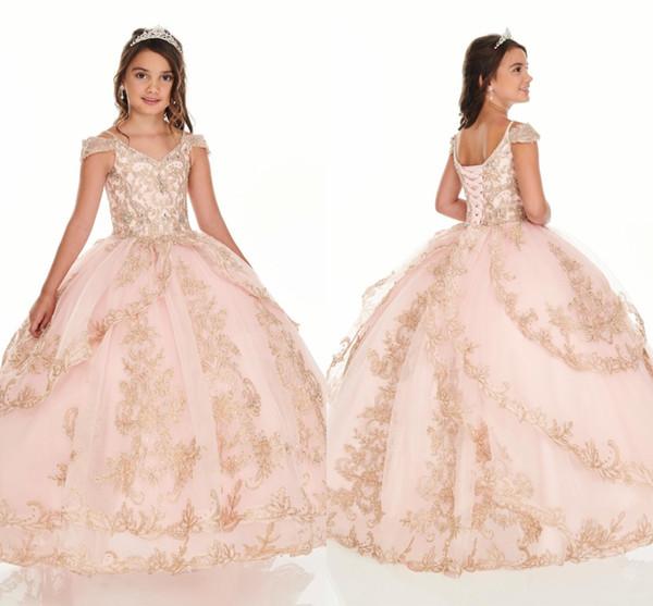 2020 bella Blush Pink Oro Pizzo Perline ragazze Pageant Abiti freddo spalla due strati sfera del pannello esterno principessa Flower Girl Dress For Kids