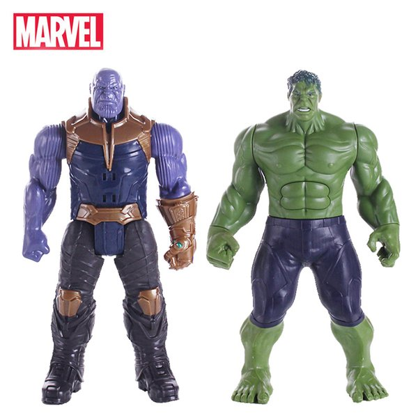30cm Marvel Clignotant Son Avengers Infinity Guerre Thanos Spiderman Hulk Iron Man Capitaine Amérique Action Figure Jouets Poupées Q190604