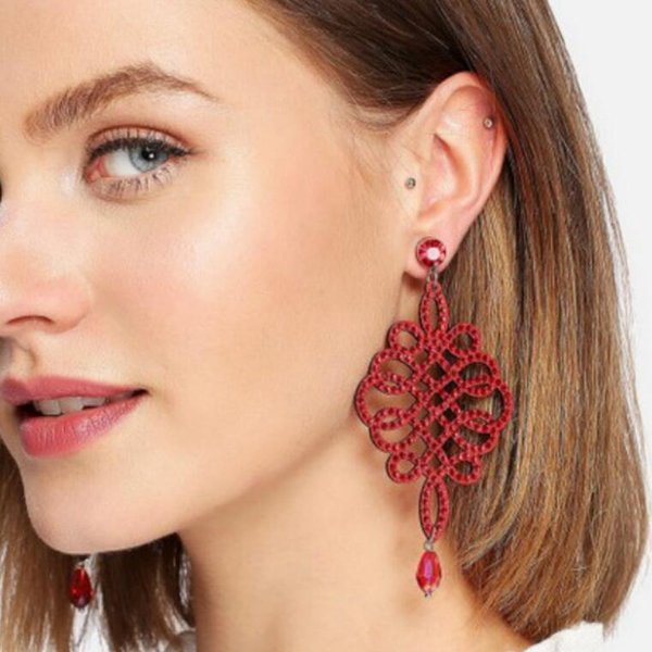 designer jewelry crystal chinese knot earrings jubilant red chram earrings for women hot fashion free of shipping, Golden