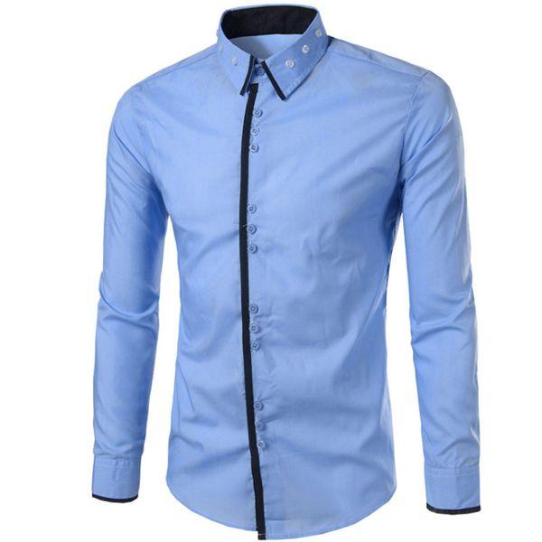 Brand 2019 Fashion Male Shirt Long-sleeves Tops Three Buckle Design Simple Color Mens Dress Shirts Slim Men Shirt