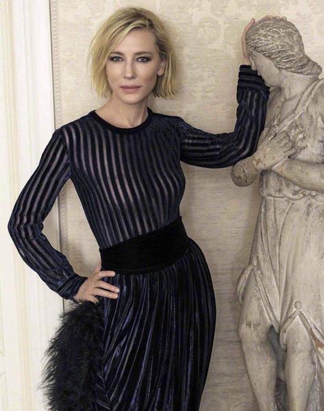 Milan Runway 2019 Black/Dark Blue Sheer Mesh Velvet Long Celebrity Style Dress Designer Long Sleeves Evening Party Gown 8299250