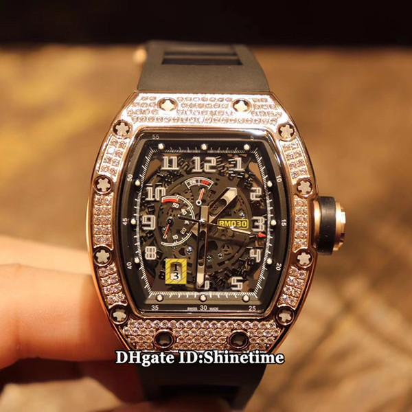 Meilleure édition RM 030 Big Date Skeleton Dial Japan Miyota automatique RM030 Mens Watch diamant or rose bracelet en caoutchouc noir Montres de sport