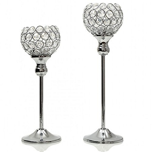 Pair Crystal Vintage Candle Tealight Holders Stand Metal Glass Candlesticks Wedding Table Centerpieces Holiday Home Decoration Gift