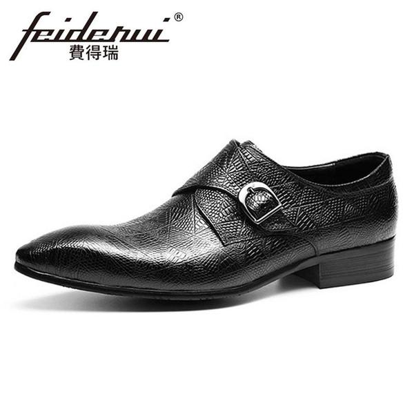 Centilmen FHS149 İçin Lüks Gerçek Deri Erkek ler Resmi elbise ayakkabı Sivri Burun Kemeri Man Monk Kayış Büro Ayakkabı