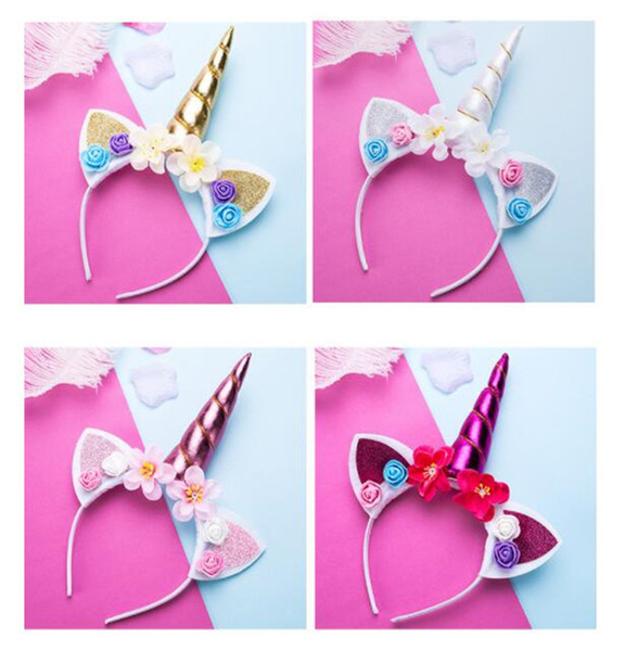 Cute Magical Unicorn Horn Head Party Kid Girl Hair Headband Fancy Dress Cosplay Decorative 5 color