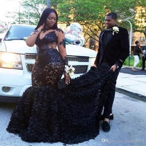 African Plus Size Prom Dresses 2020 Sheer Neckline Mermaid Evening Gowns  Long Sleeves Tiered Black Girls Formal Dresses Evening Plus Size White ...