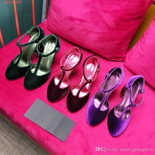 New flannel T belt Paste drill Green gem Retro wine red purple Baotou crystal glass Thick heel High-heeled sandals