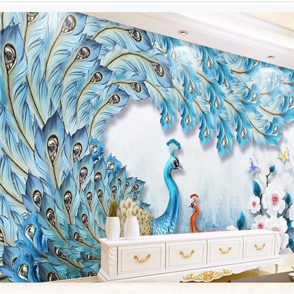 Modern taze üç boyutlu kabartma 3D tavuskuşu aşk çiçek açık zengin duvar özel büyük duvar kağıdı