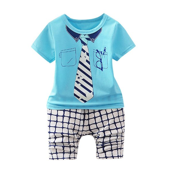 2PCS Summer Baby Sets Boy Toddler Kids Baby Boys Short Sleeve Tie Glasses Print Tops+Plaid Pants Sets Baby Boy Clothes M8Y24