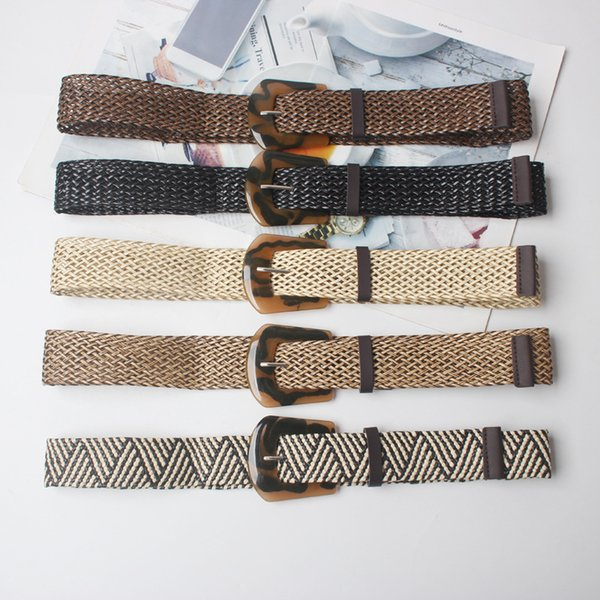 New Vintage Knitted Wax Rope Wooden Bead Waist Rope Women Smooth Buckle Belt Woman Woven Female Elastic Braided Belt BZ04