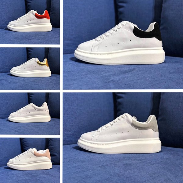 New Designer Luxury Brand white black leather casual shoes for girl womens men pink gold red fashion comfortable flat sneakers