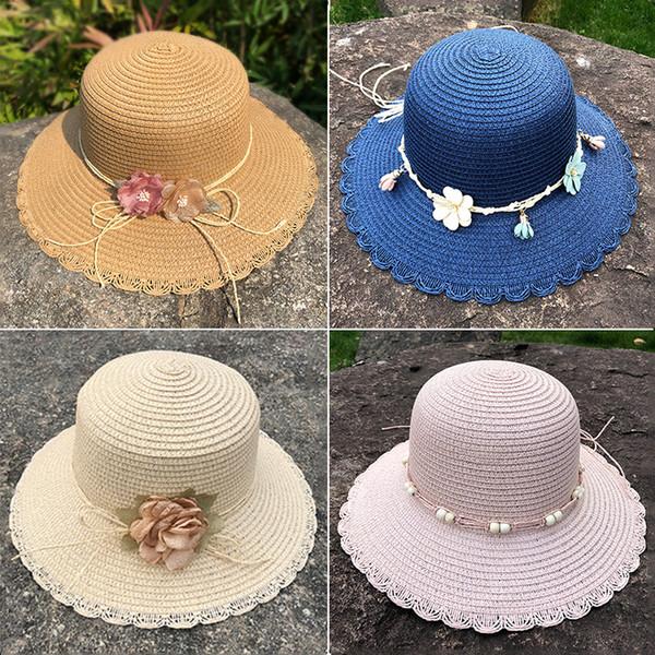 Kadınlar Hawaii Hasır Şapka Geniş Brim Floppy Sun Flower Hat Yaz Plaj Cap Açık Kızlar