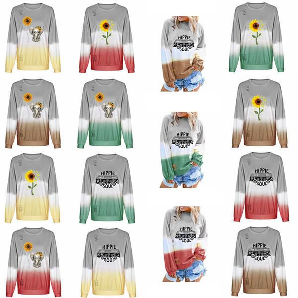 15styles chica Gradiente agujero de la camiseta de manga larga con cuello redondo impresa girasol Pullover Tops camiseta de la camiseta del suéter traje Outdooor FFA2974-