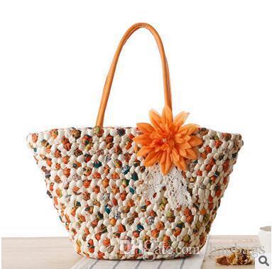 Hot Sale Summer Holiday Travel Shoulder Bags Beach Bags Bohemian Woven Straw Handbags Cheap High Quality Beach Bag Free Shipping