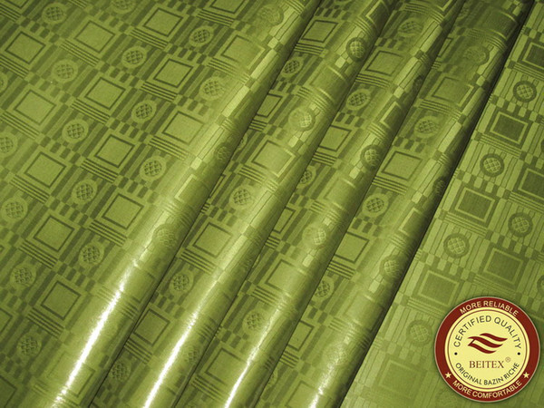 best selling High Quality Olive Green Bazin Riche,Germany Quality 10 Yards bag Guinea Brocade Garment Fabric 100% Cotton With Perfume Shadda
