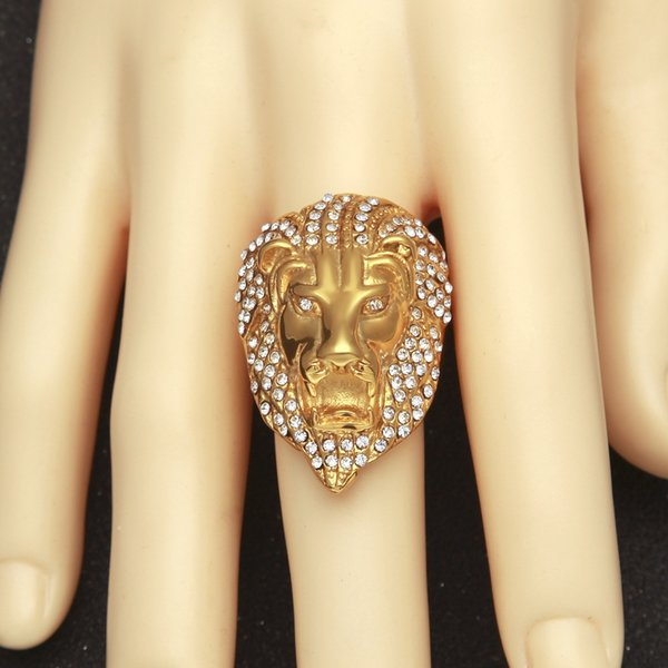 2019 new fashion trend high quality men's vacuum plating color-protected diamond lion head large ring hip-hop exquisite accessories