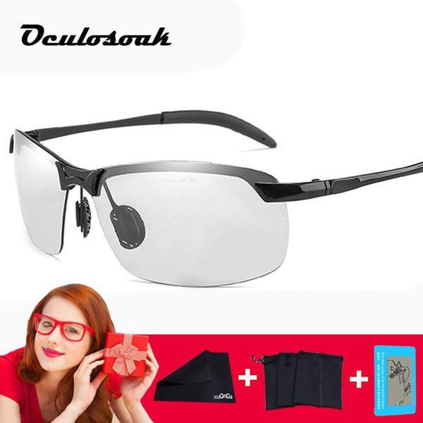 Photochromic Sunglasses Men Polarized Driving Chameleon Glasses Change Color Sunglasses Hd Day Night Vision Driving Eyewear