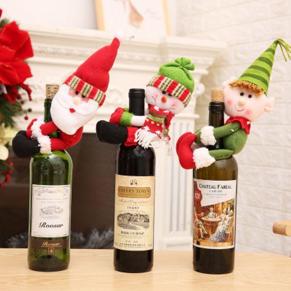 Christmas Home Decorations Hotel Santa Snowman Wine Bottle Cover Wine Bottle Holder Elf Wine Bottle Decoration