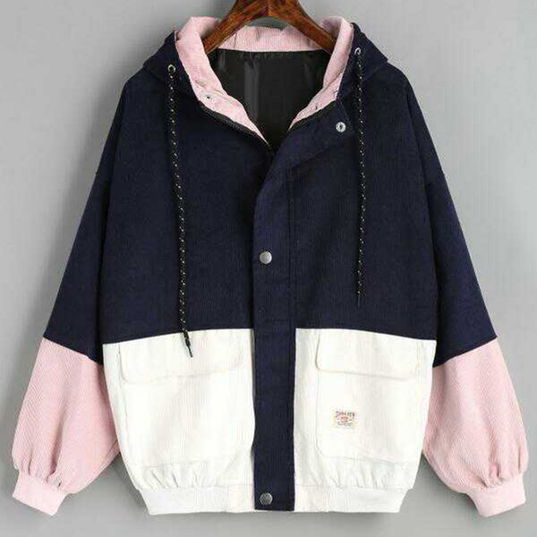 2019 Autumn Womens Color Block Hooded Corduroy Jacket Drawstring Hit Color Patched Pocket Thick Basic Women Harajuku New Coat Y190921