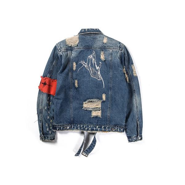Moda uomo giacca classica rotto cerniera uomo giacca da uomo Graffiti Hip Hop Cowboy Giacche moda maschile