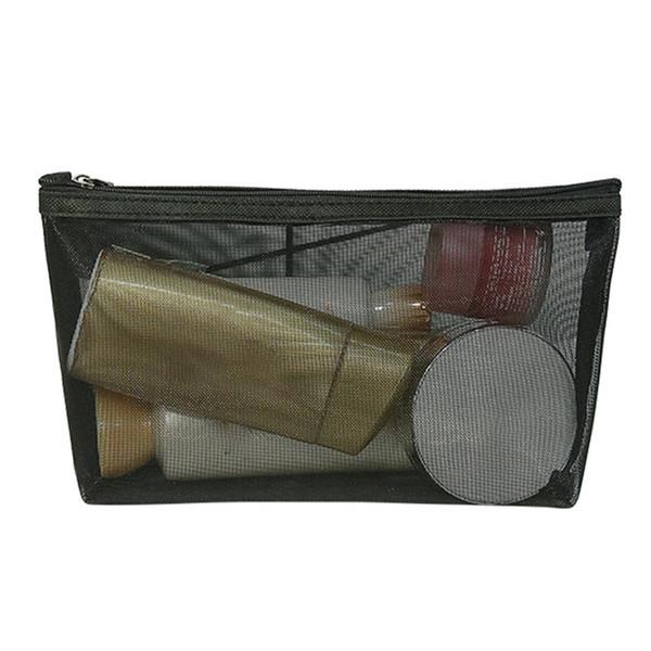 Malha portátil Cosmetic Wash Maquiagem Saco de Armazenamento De Viagem Mulheres Zíper De Higiene Pessoal Organizador Transparente Bolsa