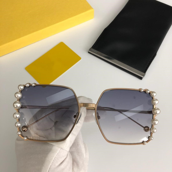 Luxury Sunglasses Women Big Square Frame Gray Brown Lenses Sunglasses for Women Brand Shades Pearly Sun Glass 0296S Come With Original Case