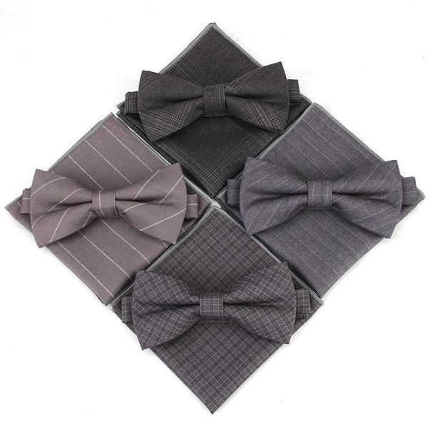 Einfache Streifen Gitter Taschentuch Krawatte Mode Männer Heiraten Kleid Hochzeitsempfang Zubehör Zweiteiler Fabrik Direkt 7hl I1