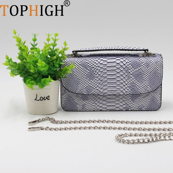 Tophigh New Cowhide Leather Day Clutch One Shoulder Crossbody Bag Python Pattern Genuine Leather Clutch Chain Women's Tote Bag Y19061903