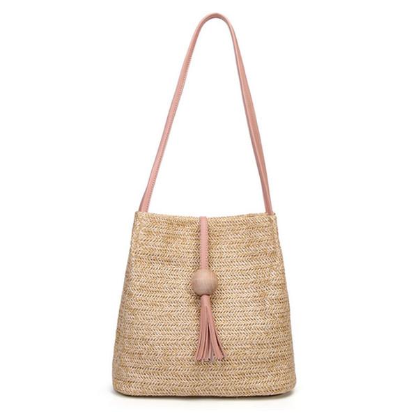 FGGS Bali Borsa a tracolla in pelle vintage fatta a mano Borsa da spiaggia in paglia rotonda Borsa da bambina in rattan piccola spalla boema