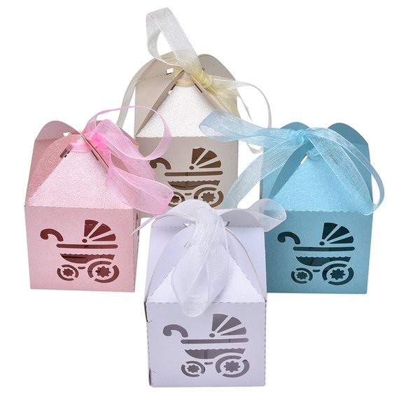 10Pcs Carriage Shape Party Gift Holder Baby Shower Candy Boxes With Ribbon Shower Favor Box For Bomboniere Wedding Anniversary