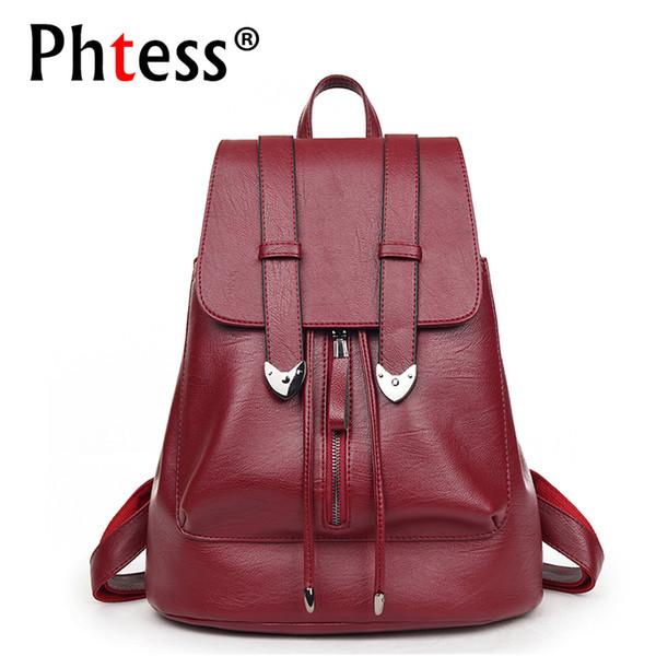 2018 Women Leather Backpacks High Quality Large Capacity Travel Bagpack Ladies Vintage Backpack For School Girls Female Rucksack