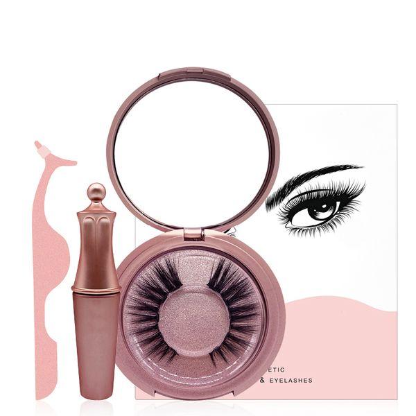 top popular Magnetic Liquid Eyeliner & Five Magnetic False Eyelashes & Tweezer Set Magnet False Eyelashes Set Glue Free Make Up Tools 2021