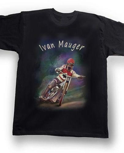 Camiseta Speedway con aerógrafo Speedway Rider Ivan Mauger Tallas Niños a Xxxl Hombres Camiseta Venta barata 100% algodón estilo occidental